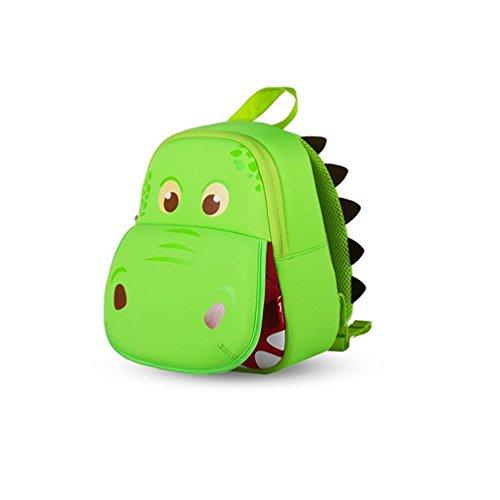Image of Yisibo Kids Backpack Kindergarten Enviromental Backpacks 3D Cartoon Cute Animal Schoolbags Zoo Hiking Travelling Camping Toddler Sidekick Pack Big Mouth Dinosaur-Green