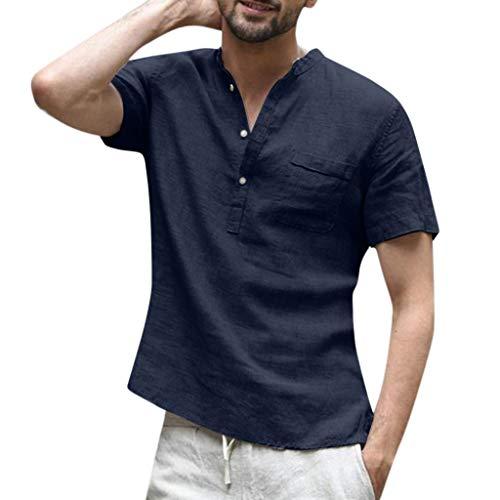 Camicie uomo lino vovotrade allentata comode e traspiranti stile slim estivo slim grandad collar spiaggia camicie shirts