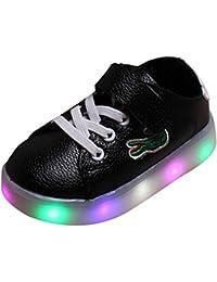 hibote Muchachos de los muchachos del niño ligeros que encienden para arriba los zapatos Negro Tamaño 21