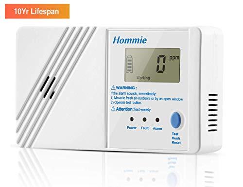 Hommie 10 Jahre Kohlenmonoxidmelder mit Digitaler Display und Prüftaste, Batteriebetrieben CO Melder, Weiß