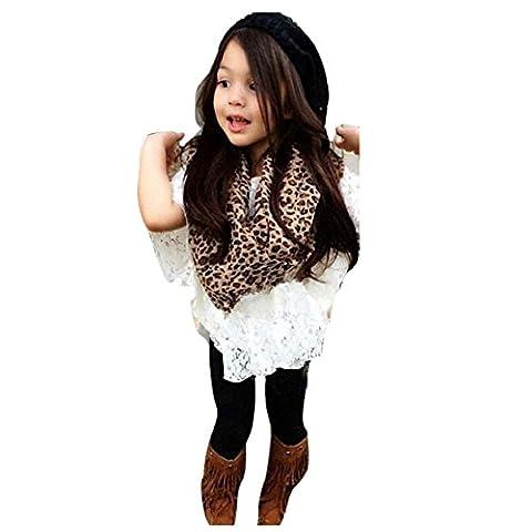 Vovotrade Tout-petit Veste de fille + Chemise de batte de dentelle +Pantalons longs + Écharpe Leopard Tenues vêtements (Size:100, Blanc)