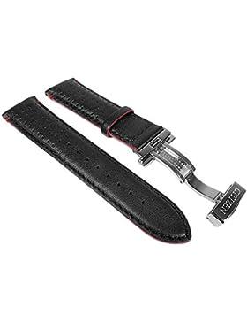 Citizen Marken Ersatzband Leder Band schwarz / Rot 23mm für Funkchrono AT9036-08E