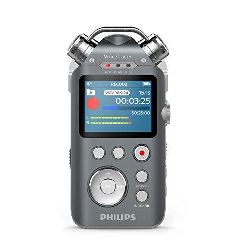 Preisvergleich Produktbild Philips DVT7500 Audiorekorder mit 3 Mikrofonen (Aufnahmegerät für Musik in Studioqualität, XLR und Line-In Anschluss, Tonaufnahmen in MP3 und PCM-Format, Stativgewinde, 16 GB) anthrazit/chrom