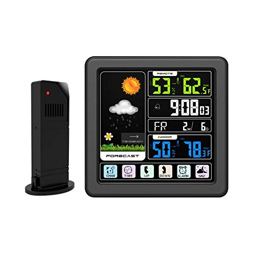 ToDIDAF TS-3310 Vollfarb-LCD-Funk-Wetteruhr, Multifunktionale Wetterstation, Thermometer/Barometer/Luftfeuchtigkeitsmonitor, Innen und Außen - Schwarzer Rahmen