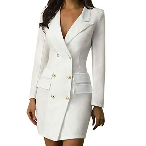 Damen Blazer Kleid Frauen Elegant Langarm V-Ausschnitt Zweireihig Solide Hemdkleid Berufskleidung Business Lange Hülse Büro Jacken Knopf Anzug