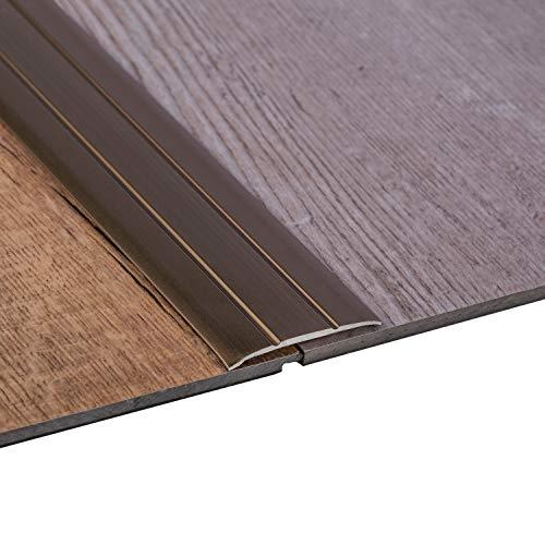 Gedotec Übergangsprofil selbstklebend Übergangsschiene Alu flach | Breite 37 mm | Bronze eloxiert | Abdeckleiste 200 cm | 1 Stück