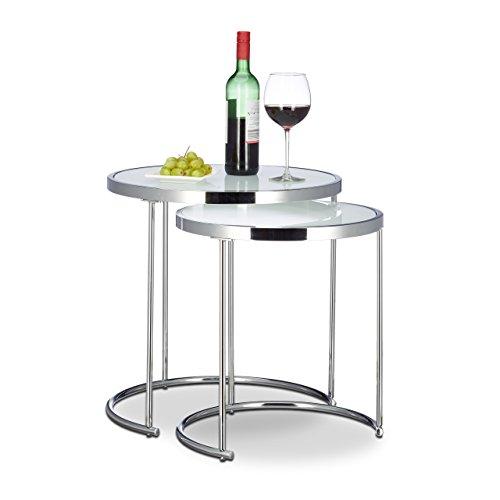 Relaxdays Tables gigognes Rondes, Cadre chromé, Lot de 2, Design Moderne - en Verre givré, Table d'appoint d'extrémité des Tables, en MÉTAL, Argent