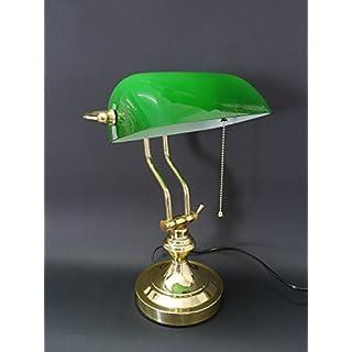 Antike Fundgrube Bankerlampe Schreibtischlampe Lampe Leuchte Messing mit grünem Glasschirm (5018)