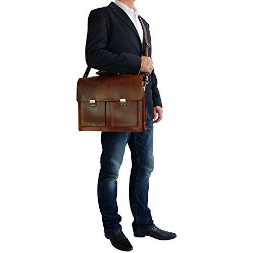 manbefair FAIR TRADE Öko Leder Aktentasche Charles Messenger Laptoptasche Umhängetasche Lehrertasche (Antik Braun geölt) 42x34x20 cm (BxHxT) Antik Braun geölt