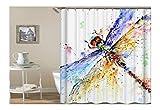 AmDxD Polyester Duschvorhang Aquarell Bunt Libelle Design Badewanne Vorhang Bunt für Badezimmer Waschbar 90x180CM