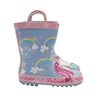 M&Co Girls Blue Rainbow Unicorn Slogan Pull on Handle Detail Gripped Tread Wellies Multicolour Uk8 Eur26