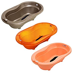 Large Portable Plastic Baby Bath Tub with Anti Slip Mat and Drain