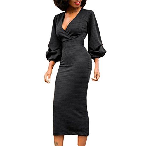 Fuibo [Retro Elegante] Damen Langarm V-Kragen Korsett Strap Damen langes Kleid [Partykleid] (Schwarz, S) (Perlen-spitze-rock)