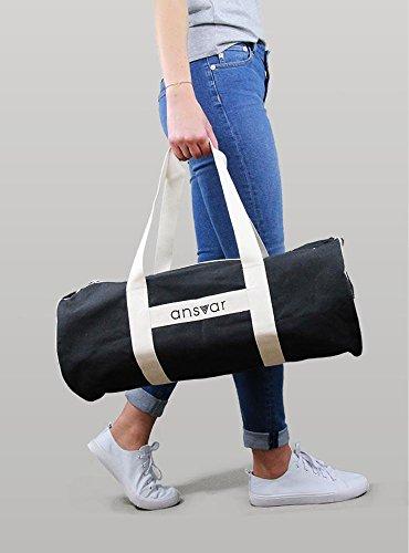 Sporttasche ansvar III aus Bio Baumwoll Canvas - Hochwertige Damen & Herren Sporttasche, Duffle Bag aus 100% nachhaltigen Materialien - mit GOTS & Fairtrade Zertifizierung, Farbe:anthrazit - 2