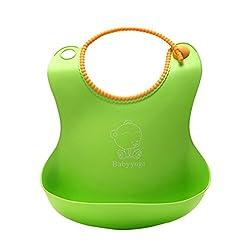 Green : chendongdong New Style Baby Silicone Bib Stereo Disposable Bib Kids Bibs Children Pick Rice Pocket Cute Boys And Girls