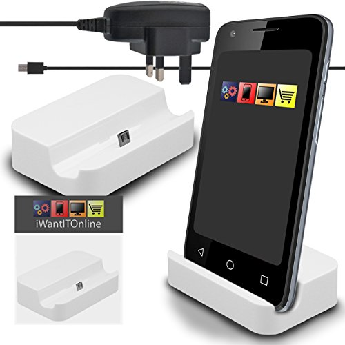IWIO Huawei U8650 Sonic Weiß Micro USB Sync & Charge / Charging Tischplattendock Ladestation mit 3 Pin UK 1000mAh CE-Zulassung Micro USB-Netzladegerät