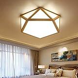 Géométrie lampe de plafond d'éclairage créatif de plafond de LED en bois pour le...
