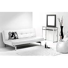 Adec - Chic, Sofá cama sistema clic clac, sofa tapizado polipiel patas cromadas,