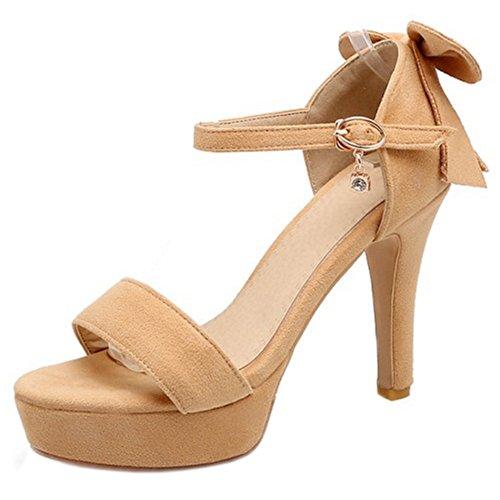 COOLCEPT Femme Mode Sangle De Cheville Sandales Bout Ouvert Plateforme Talon Bloc Chaussures Avec Bow Jaune