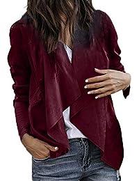 Kurzer Cardigan aus Leder mit Offener Front Frauen Winter Warm Lange Ärmel Anzug Jacke Mantel