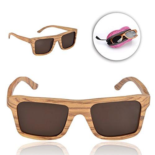 Sunroyal® Occhiali da sole Super Lenti Polarizzate originali in legno per Sport Uomo e Donna Occhiali sportivi Occhiali per la guida telaio stile wayfarer bambù eyewear (Sunglasses