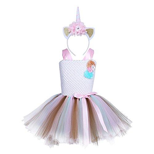 r Mädchen Einhorn Blumen Ballettkleid Tutu Partykleid Cosplay Kostüm Einhorn Kleid mit Einhorn Haarreif für Tanz Party Karneval Weiß110 (Mädchen Halloween-kostüm-ideen Uk)