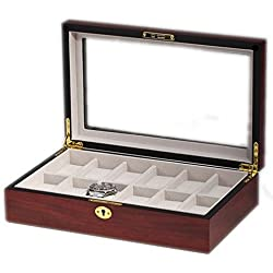 portaorologi with Showcase Wooden Box Case for 12 Watches Box Hand Finish Cherry