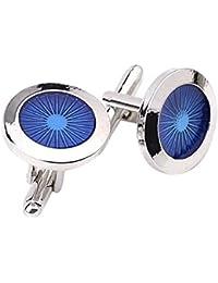 Hosaire 1 Pair Fashion Men's Cufflinks Fashion Round eyes Shirt Cufflinks Cuff Links Mens Dress Business Wedding Cufflinks Gift Present(Silver)