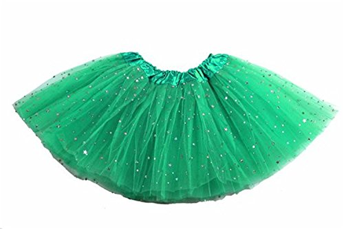 Pacyer® Ragazze principessa Tutu di Stelle Paillettes Dance Party Ballet Tutu Gonne (Verde)