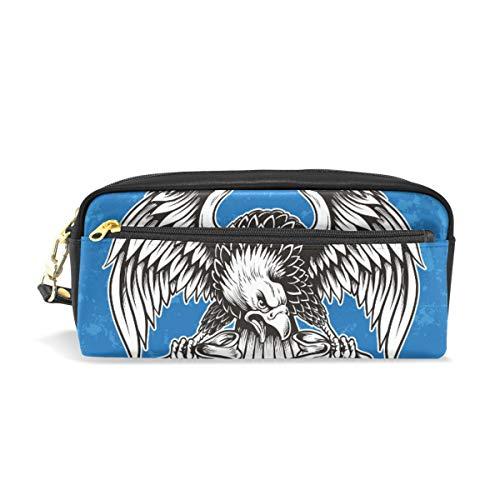 Angry North American Bald Eagle Federmäppchen für Kinder, große Kapazität, für Make-up, Kosmetik, Büro, Reisetasche