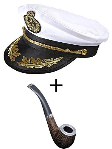 Panelize Kapitänsmütze Luxus Seemann Kappe Hut mit Tabak Pfeife Attrappe