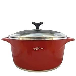 Royal céramique Rouge Fonte Casserole de cuisson anti-adhésive de 20 cm avec couvercle en verre