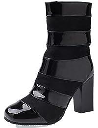 Rongzhi Damen Stiefeletten Reißverschluss Schnalle Blockabsatz Kurzschaft Stiefel Pumps Schuhe Lackleder