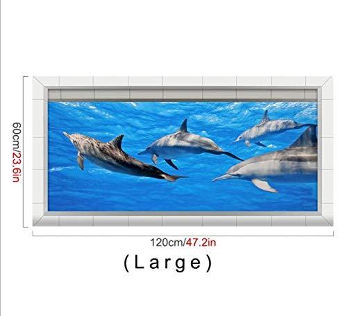 Creative 3D Twill Affixed Marine Antifouling Dolphin Kitchen Balcony Twill Slip AffixedL -