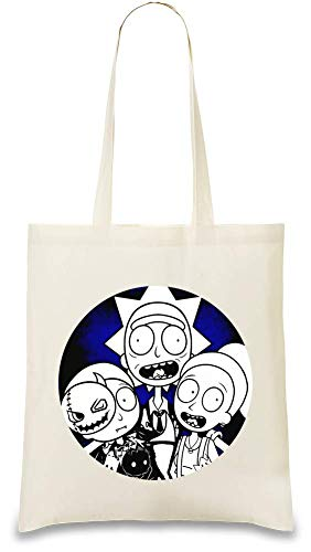 Rick And Morty Fröhliches Halloween - Rick And Morty Happy Halloween Custom Printed Tote Bag| 100% Soft Cotton| Natural Color & Eco-Friendly| Unique, Re-Usable & Stylish Handbag For Every Day Use|