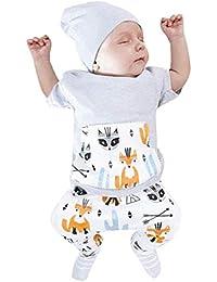 Ropa para Bebe,RETUROM Camiseta Estampada con Estampado de Zorros y Estampado de niños pequeños de Toddler Baby Boys