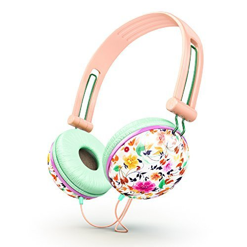 ankit-pastel-peach-pink-floral-noise-isolating-headphones-apple-android-compatible-gifts-for-her-ove
