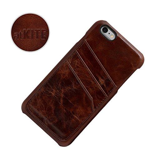 iPhone 6 / 6S Case, atKITE Echtleder Vintage-Style Rückseite Case - Braun - Kartenhalter - Ultra Slim - Präziser Zuschnitt und Design - Handgefertigt Kaffee