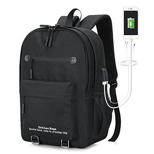 FPTB Business Rucksack, Reise Laptop Rucksack, Herren Rucksack mit USB Ladeanschluss Wasserdichter Tagesrucksack Schwarz Für 15.6In Computer Notebook Oxford Stoff