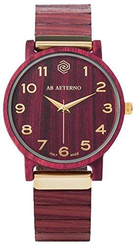 """AB AETERNO """"Fenix Purple 35"""" Amarant Holz Swiss Quarz Gold Hypoallergen Damen Uhr"""