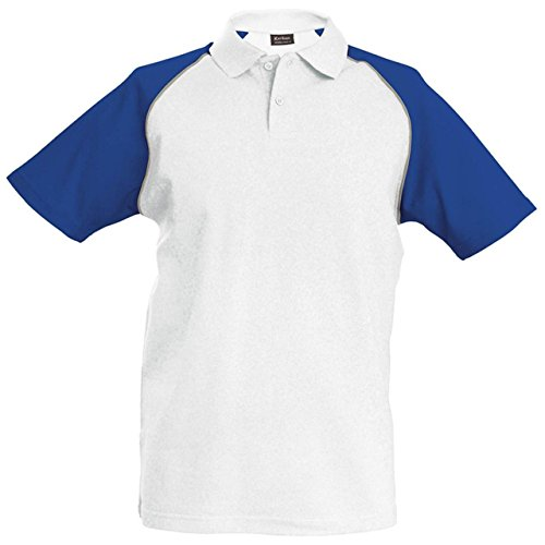 Kariban Baseball polo - White/Light Grey/Royal