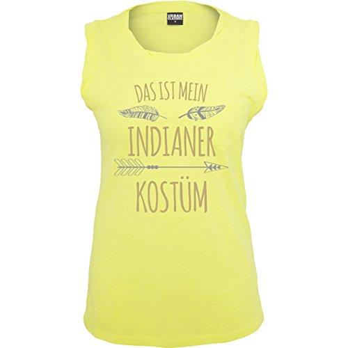 Karneval & Fasching - Das ist mein Indianer Kostüm - ärmelloses Damen T-Shirt mit Brusttasche Neon Gelb