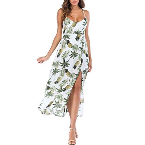 llangen Kleid Damen ärmellose Hosenträger Rock Ananas Lange Boho Kleid Lady Beach Sommer Sundrss Maxi Kleid Größe S bis XL (EU 40/Asien XL, Grün) (Fox Womens Kostüme)