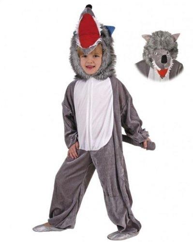 Kinder Kostüm Overall Wolf Velours in 3 Größen (104)