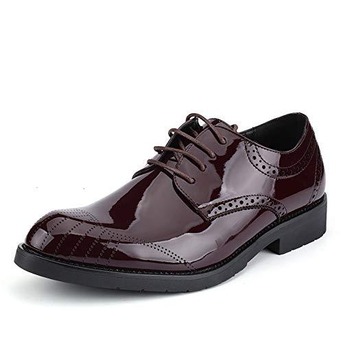 Jiuyue-shoes, 2018 casual punta rotonda comoda da uomo moda oxford youth trend scarpe da ginnastica in pelle verniciata traspirante scarpe uomo pelle (color : vino, dimensione : 41 eu)