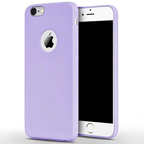 Cover iPhone 6 Plus (5.5),ToDo iPhone 6S Plus Custodia Silicone Ultra Morbido Satinate Opaco Ultra Sottile TPU Flessibile Gomma Cassa Protettiva Gel [Anti-scivolo] [Anti-Graffio] [Antiurto] Leggero C Viola + Verde menta