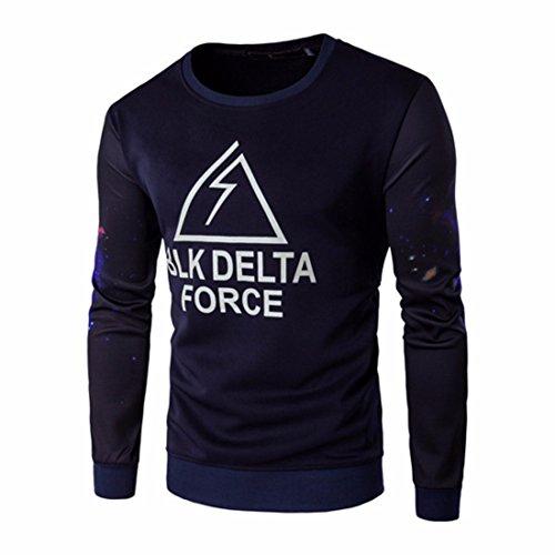 Men's Designer Slim Fit Print Pullover Sweatshirts Navy