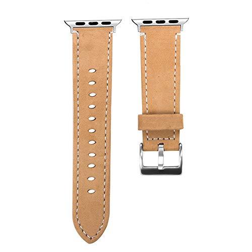 Vamoro Mode Leder ersatz Armband Strap Band Lederarmband Ersatzband Kalbsleder Ersatz Uhrenarmband Armband Premium Uhrenarmband für Apple Watch Serie 4 40mm(Kaffee)
