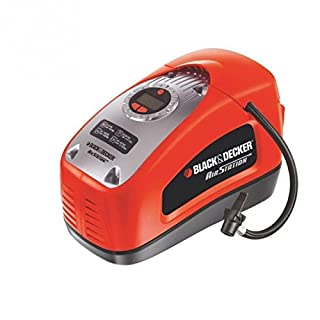 Black+Decker Kompressor, 11 bar / 160PSI, Luftpumpe, digitale Druckeinstellung, Kabelfächer, beleuchtete Skala, inklusive 3 Ventil-Aufsätzen, Einstellring für BAR-Zahl, Automatikabschaltung, ASI300, Mehrfarbig (Rot/Schwarz)
