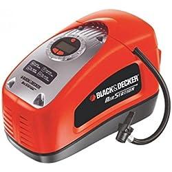 Black & Decker ASI300-QS Gonfleur-Compresseur filaire-11 Bars-160 PSI-220 V ou Allume-Cigare 12V-Fourni avec 1 Aiguille et 2 Embouts